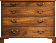 Image of a mohagany four drawer dresser.